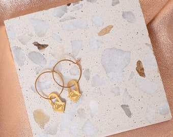 graphic creoles gold plated french jewelry - MINI SAQ