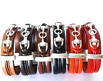snaffle bit bracelet, horse bracelet, leather Bracelet, bit bracelet, women bracelet, Mens bracelet, kids bracelet, equestrian jewelry