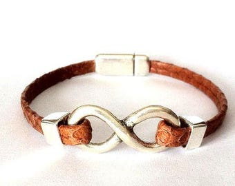 Leather bracelet, Mens bracelet,  Leather bracelet for men,  women Bracelet, Infinity bracelet, infinity charm