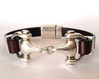 Snaffle bit  bracelet, leather Bracelet, bit bracelet, Mens Leather bracelet, Horse bracelet,  equestrian jewelry, gift for horse lovers