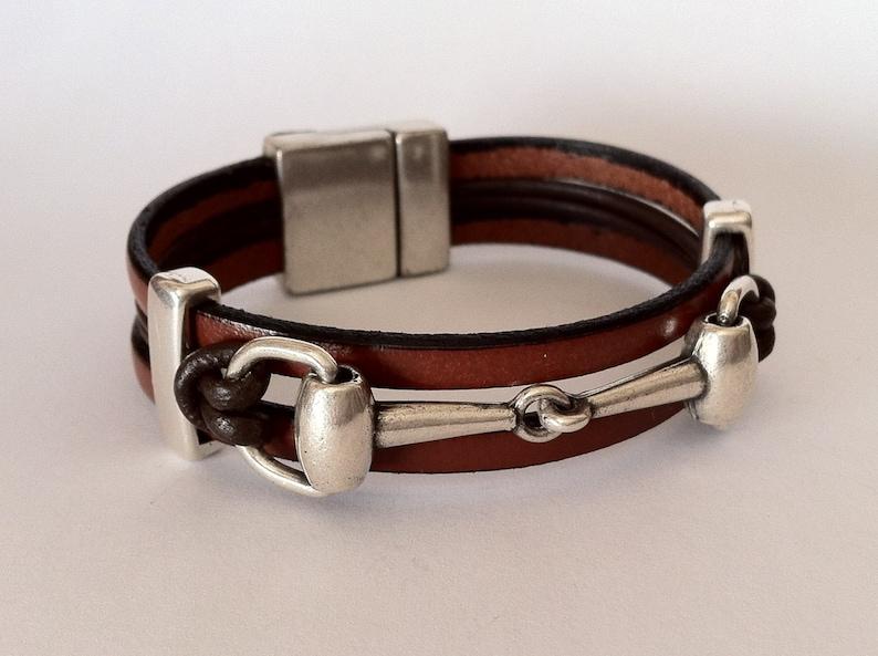 mens leather Bracelet equestrian bracelet Horse bracelet brown bracelet Leather bracelet for men Snaffle bit bracelet bit bracelet