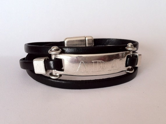 9d822dbe68a07 Mens Personalized bracelet, custom jewelry, wrap bracelet, Engraved  bracelet, leather bracelets, Gift for men, Name Bracelet, christmas gift