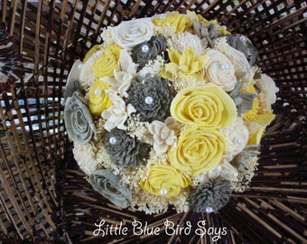 Yellow bouquet etsy yellow and grey bridal bouquet sola flower bouquet rustic bridal bouquet dried flower bouquet rustic wedding beach wedding mightylinksfo