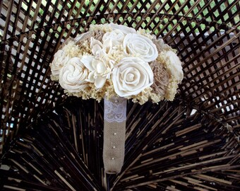 Rustic cream and beige bridal bouquet | Rustic wedding | Sola bridal bouquet | keepsake bouquet | Rustic bouquet | Beach bouquet