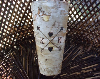 Personalized birch bark vase
