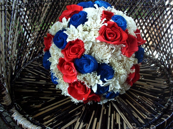 Red White And Blue Bridal Bouquet Sola Bouquet Rustic Etsy