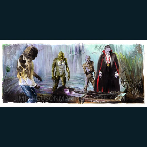Monster Squad - Reviving Frankenstien's Monster Art Poster Print