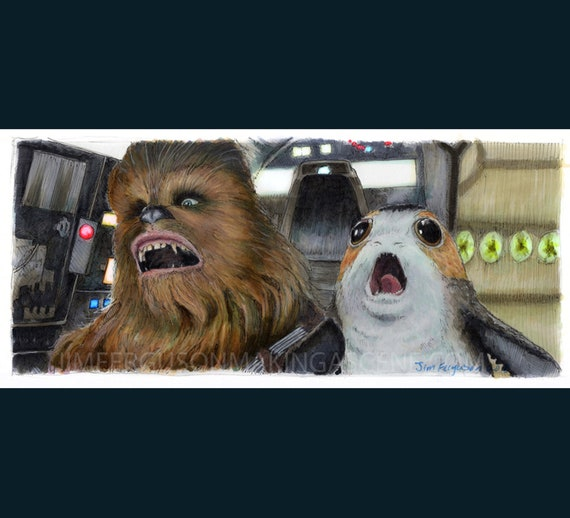 Star Wars - The Last Jedi- Chewie and Porg  Print By Jim Ferguson