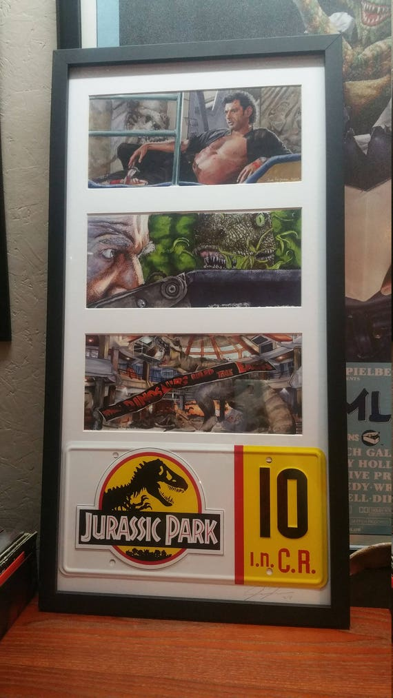 3 Framed Jurassic Park prints with License Plate by Jim Ferguson By Jim Ferguson