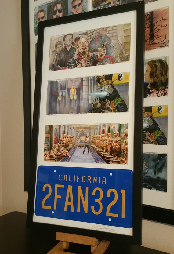 Framed 3 Big Trouble in Little China prints with The Pork Chop Express License Plate By Jim Ferguson