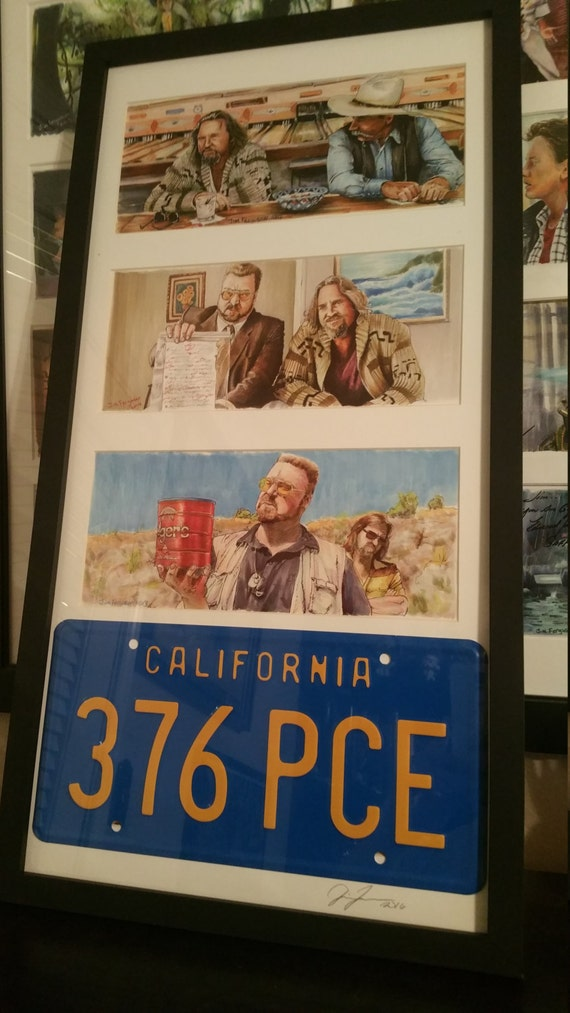 3 Framed The Big Lebowski  prints with License Plate