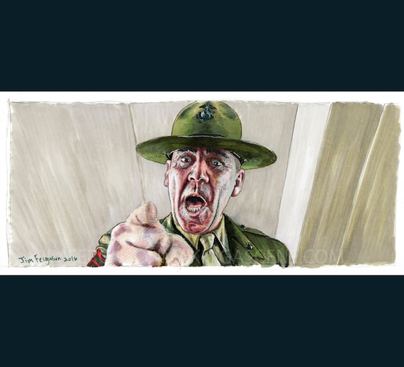 Full Metal Jacket - Gunnery Sergeant Hartman Original drawing By Jim Ferguson