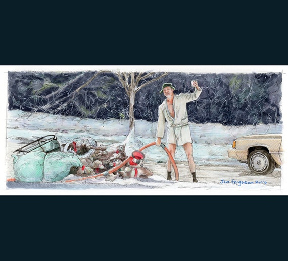 Christmas Vacation - Shitters full art Print By Jim Ferguson