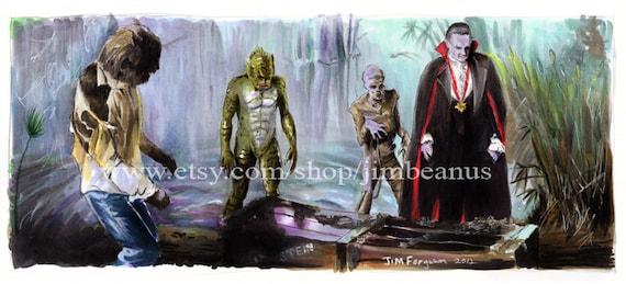 Monster Squad - Reviving Frankenstien's Monster Art Poster Print