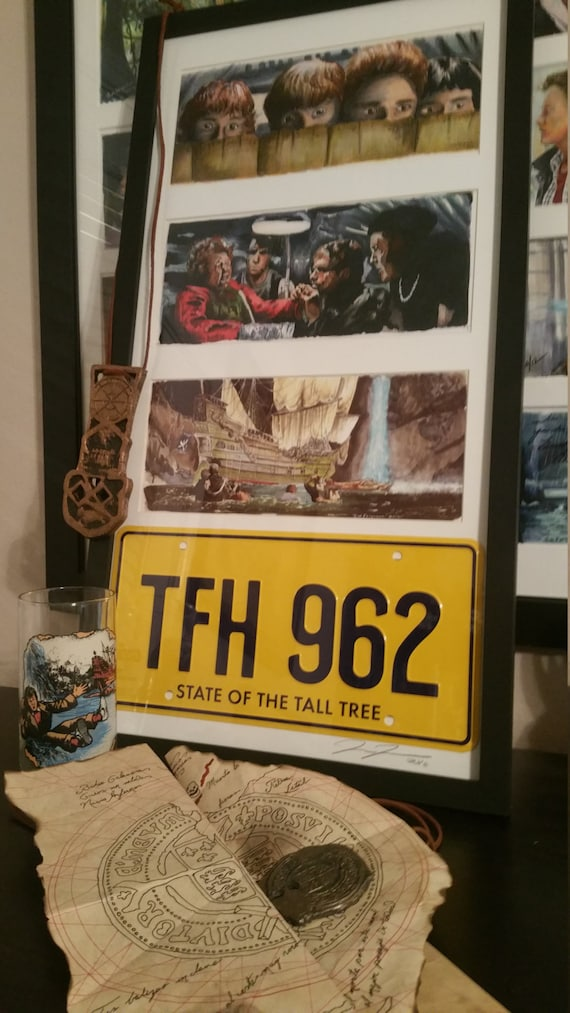 Autographed 3 Framed Goonies prints with License Plate