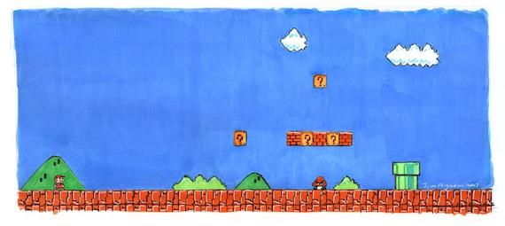 Super Mario Bros - World 1 - 1 Print