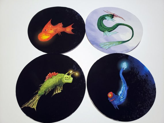 4 Creature Vinyl Stickers - By Ian Ferguson