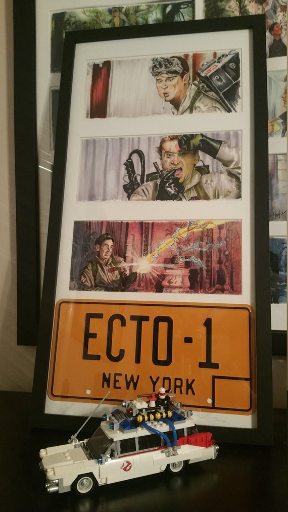 3 Framed Ghostbuster prints with License Plate By Jim Ferguson