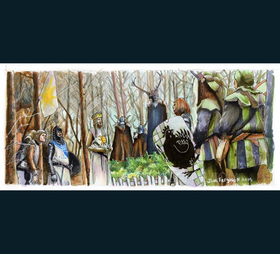 Monty Python and the Holy Grail - The Knights Who Say NI!  Print By Jim Ferguson