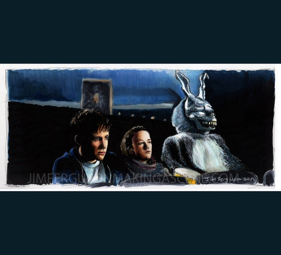 Donnie Darko - Why are you wearing that stupid bunny suit?  art Print By Jim Ferguson