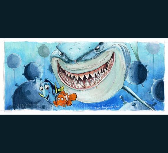 Finding Nemo - Hi I'm Bruce Poster Print By Jim Ferguson