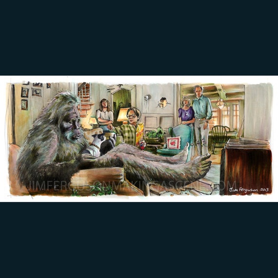 "Harry and the Hendersons - He Didn't Care for the Blue Cheese  5""x11"" Poster Print By Jim Ferguson"