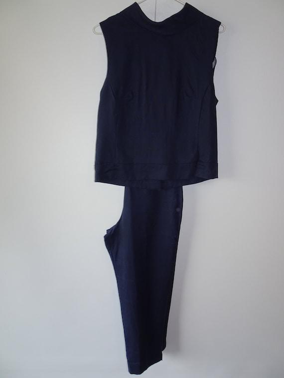 Giomano Navy Blue Linen Pant Suit