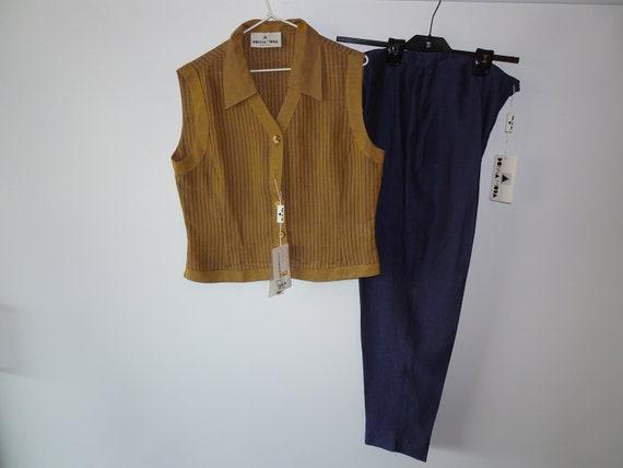 Vintage Donna Moda Linen Pant Suit