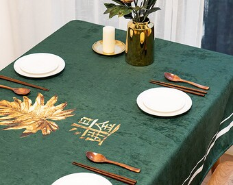 bcd55d70d07 New Chinese style national wind Spring Festival festival tablecloth  waterproof cloth art solid color table cloth rectangular table cloth