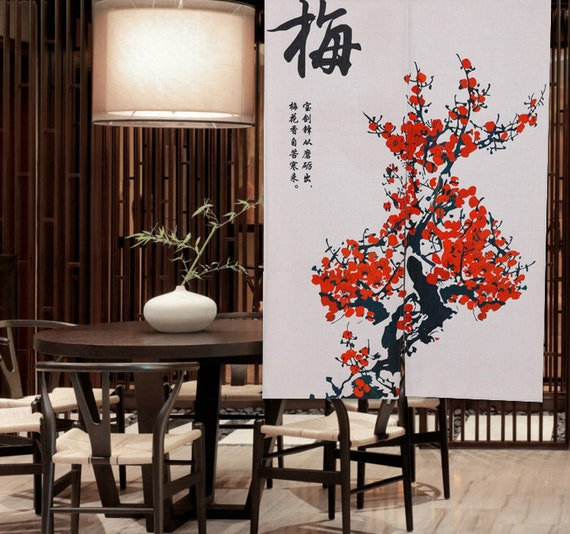 Ofat Home Design Chinese Plum Bamboo Chrysanthemum Painting Door Curtain Cotton Linen Ink Painting Door Curtain For Home Decor