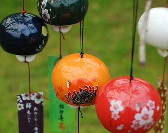 Ofat Home Japanese-Style Flower Hollow Out Design Japan Wind Chime Ornaments Garden Door And Window Sub-Decorations Handmade Exquisite Gifts