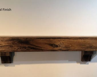 Rustic Wood Beam Mantle With Corbels Floating Shelf Faux Hollow Provincial Finish54 66