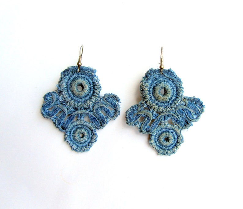The lightest earrings lace denim with special impregnation for Owl earrings