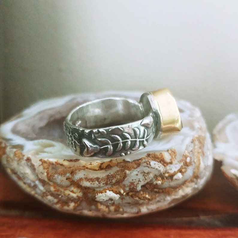 Gorgeous 22k and Sterling Watermelon Tournaline ring 6.75
