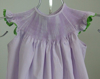 READY to SMOCK Angel Sleeve Bishop Dress in 100% Cotton Gingham, Ready to Smock ANGEL Sleeve Bishop