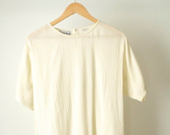 vintage 90s OXFORD normcore BASIC shirt slouchy scoop neck top