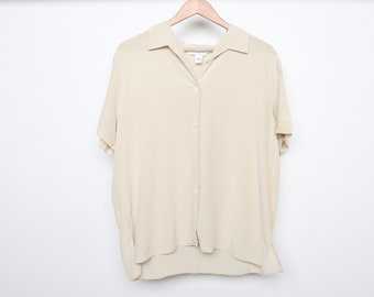 90s VERSACE style silk CREAM color block wild one vintage 1990s short sleeve boxy blouse -- size large