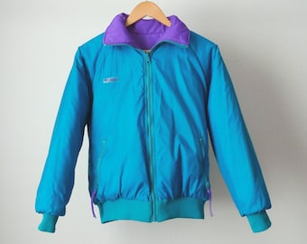 6dd7c63fd7 reversible COLUMBIA teal   purple ski jacket hyper color contrast color  block 90s jacket coat