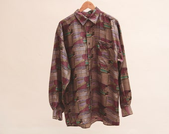 b2622e6b48312 90s SILK watercolor baroque oversize button down shirt -- size large