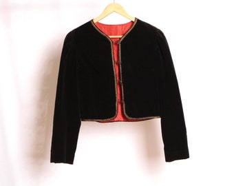 vintage VELVET boxy CROPPED jacket top crush velvet mid century piece coat  jacket 03487ddd6