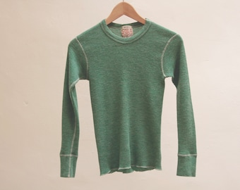13fe36fbd00 vintage basic NEIMAN MARCUS mint green thermal crew neck long sleeve GRUNGE  shirt