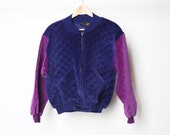 vintage 1990s QUILTED color block pastel BOMBER jacket women 39 s size small