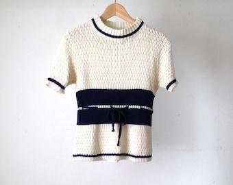 vintage BLUE & WHITE simple tie waist short sleeve sweater vest nautical boating style mid century vintage knit sweater