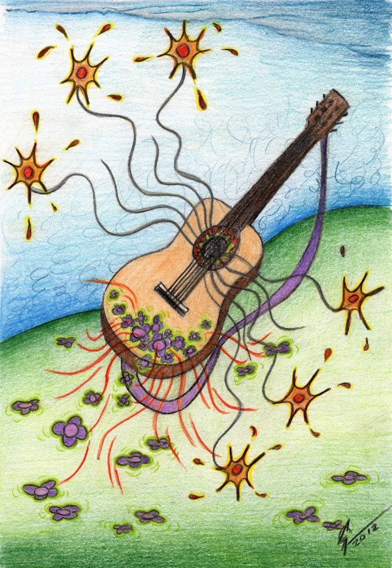 Post Card With Guitar Drawing Spanish Guitar Card Musical Etsy