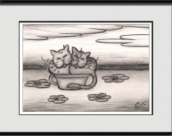 Sleeping cats drawing, home decor wall art, cat lover, canvas wall art, vintage home decoration, digital download, wall pictures