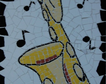 Mosaic of a baritone saxophone, saxophone mosaic, unique sax mosaic, music art, saxophone art, music mosaic, collectors item