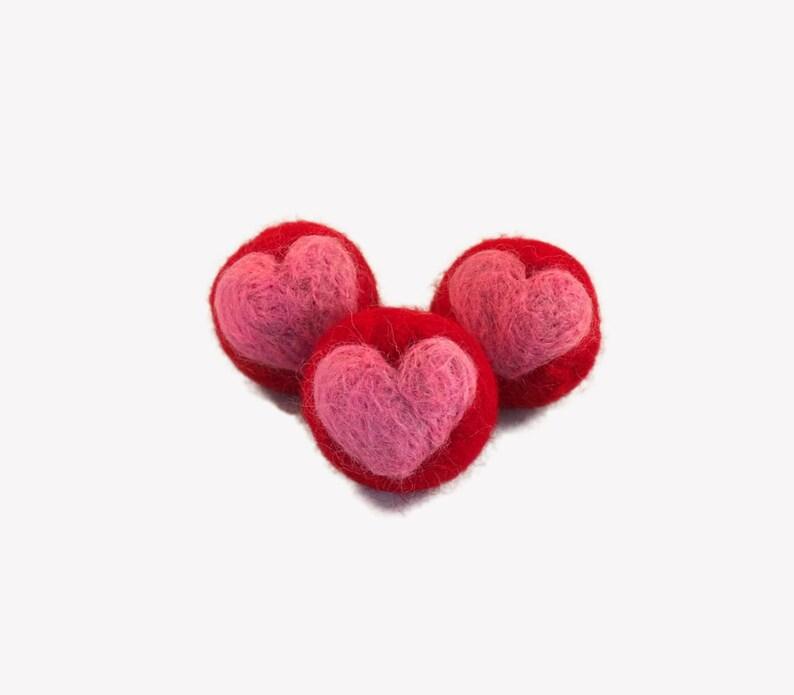 Best cat toys set of 3 felt cat balls with heart cat image 0