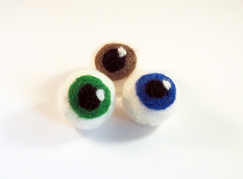 Cat toys cat balls 2 sets of 3 wet felted wool eye balls for image 0