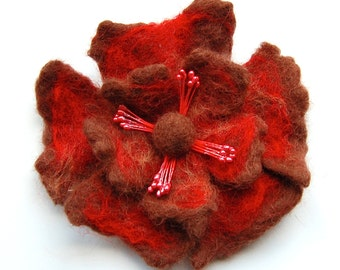 Felted flower brooch, wet felted wool flower, handmade jewelry, brown and red, flower felt pin, corsage, gifts for her, jewellery