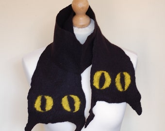 Cat scarf, wet felted black cat scarf, handmade short collar, colors black and yellow, shawl with cat eyes and ears
